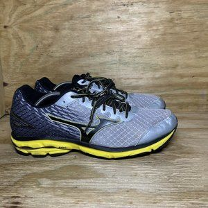 Mizuno Wave Rider 19 Running Shoes Mens Size 14 Gray Yellow Athletic